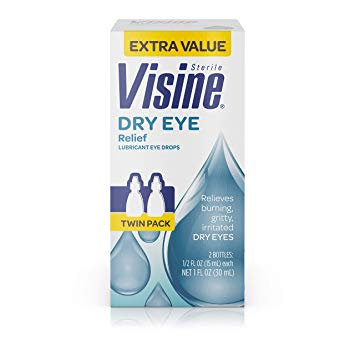 Visine Dry Eye Relief Lubricant Eye Drops with Glycerin to Moisturize and Soothe Irritated & Dry Eyes, Works like Real Tears, 0.5 fl. oz (Pack of 2)